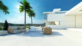 Openlucht het leven gebied in een moderne tropische villa Stock Fotografie