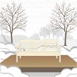 Openlucht klassieke bank op houten platform Vector illustratie Stock Afbeelding