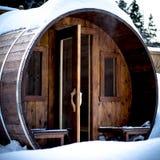 Openlucht Noorse sauna in een koude de winterdag Royalty-vrije Stock Foto