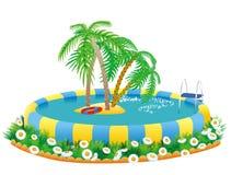 Openlucht pool en tropisch eiland vector illustratie