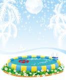 Openlucht pool en tropische eilanden vector illustratie
