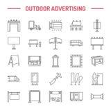 Openlucht reclame, commerciële en marketing vlakke lijnpictogrammen Aanplakbord, straatuithangbord, doorgangsadvertenties, affich Stock Foto