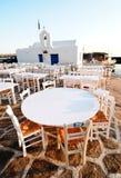 Openlucht restaurantterras Stock Foto