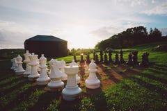 Openlucht schaakreeks Royalty-vrije Stock Afbeeldingen