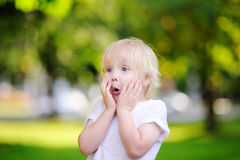 In openlucht verraste het portret van leuk weinig jongen Royalty-vrije Stock Afbeeldingen