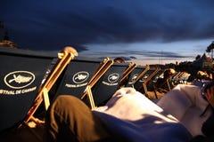 Openluchtfilmprojectie tijdens de filmfestival 2013 van Cannes Stock Fotografie