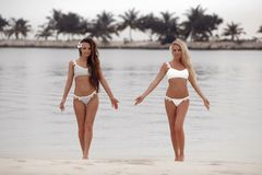 Openluchtfoto van twee sexy modellen van bikinimeisjes in manierzwempakken op tropisch strand bij het eiland van de Maldiven Slan stock afbeeldingen
