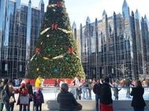 Openluchtijs het Schaatsen Piste in Pittsburgh Van de binnenstad Royalty-vrije Stock Fotografie