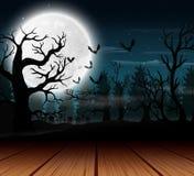 Openluchtmening met de volle maanachtergrond in Halloween-dag stock illustratie