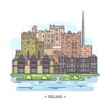 Openluchtmening over Ierland, Ierse beroemde oriëntatiepunten royalty-vrije illustratie