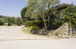 Openluchtmening van Edy Piu Restaurant op Toscaanse heuvels Stock Afbeeldingen