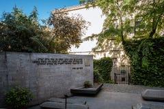 Openluchtmening van Synagoge van Transito in Toledo stock foto