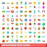100 openluchtrust geplaatste pictogrammen, beeldverhaalstijl Stock Foto