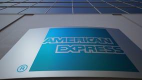 Openluchtsignage raad met American Express-embleem De moderne bureaubouw Het redactie 3D teruggeven Royalty-vrije Stock Foto's