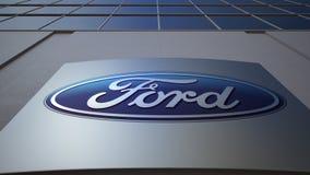 Openluchtsignage raad met Ford Motor Company-embleem De moderne bureaubouw Het redactie 3D teruggeven Stock Foto's