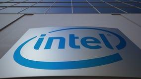 Openluchtsignage raad met Intel Corporation-embleem De moderne bureaubouw Het redactie 3D teruggeven Stock Afbeelding