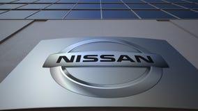 Openluchtsignage raad met Nissan-embleem De moderne bureaubouw Het redactie 3D teruggeven Royalty-vrije Stock Foto's