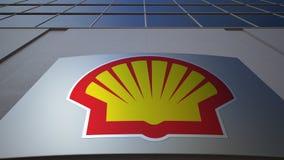 Openluchtsignage raad met Shell Oil Company-embleem De moderne bureaubouw Het redactie 3D teruggeven Stock Foto
