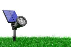 Openluchttuin LEIDENE Schijnwerper met Zonnepaneel in Gras 3D rende royalty-vrije illustratie