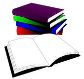 Openning copy-book. Lies with book Stock Photography