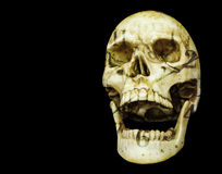 Openning mouth human skull isolated on black background with cop. Openning mouth human skull double exposure with clock dial isolated on black background with Stock Image