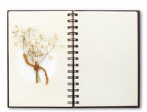 OpenNotebook compose with flower. Blank Notebook compose with flower royalty free stock photos