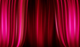 Opens the curtain! begins the show. Curtains of red curtain that open Royalty Free Stock Photography