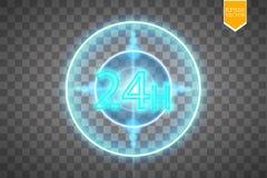 Opent concept vierentwintig zeven alle dagen Illustratie van Vectorneonteken Het open Kader van het 24 Uren Gloeiende Neon  Stock Afbeeldingen