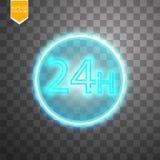 Opent concept vierentwintig zeven alle dagen Illustratie van Vectorneonteken Het open Kader van het 24 Uren Gloeiende Neon  Royalty-vrije Stock Foto
