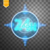 Opent concept vierentwintig zeven alle dagen Illustratie van Vectorneonteken Het open Kader van het 24 Uren Gloeiende Neon  Stock Foto's