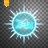 Opent concept vierentwintig zeven alle dagen Illustratie van Vectorneonteken Het open Kader van het 24 Uren Gloeiende Neon  Stock Fotografie