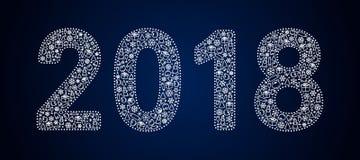 Openwork белые диаграммы зимы 2018 две тысячи и 18, заполненный с картиной на теме Нового Года Стоковое Фото