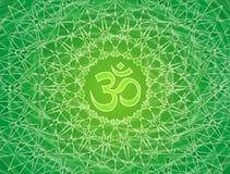 Openwork мандала с знаком Aum Om Красивый орнамент в зеленых тонах иллюстрация штока