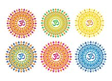 Openwork мандала, элегантный круговой орнамент с Om/Aum/омом подписывает внутри середину вектор Иллюстрация штока
