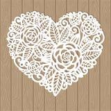 Openwork сердце с цветками зеленый цвет элемента предпосылки декоративный выходит лиана над белизной вектора иллюстрация вектора