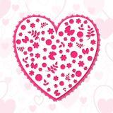 Openwork сердце высекаенное с цветками Стоковое Изображение