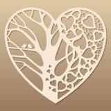 Openwork сердце с деревом внутрь иллюстрация вектора