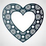 Openwork сердце с цветочным узором дополнительный иллюстратор рамки формы eps самана включает вектор Вырезывание лазера Стоковые Фото
