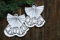 Openwork angels in the art of quilling Christmas decoration Royalty Free Stock Image