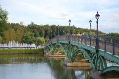 Openwork arch bridge in museum-reserve Tsaritsyno. Moscow Stock Images