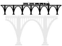 Openwork arch concrete bridge with a steam locomotive. Transport infrastructure. Transportation of passengers. Black and white Royalty Free Stock Photos
