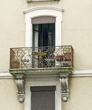Openwork balconies on the facade of the house Royalty Free Stock Images