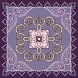 Openwork  bandanna  with a paisley pattern in lilac purple tones Royalty Free Stock Photography