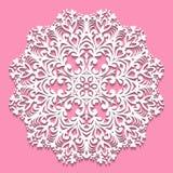 Openwork biała pielucha Koronkowy ramowy round element na różowym backgrou ilustracja wektor