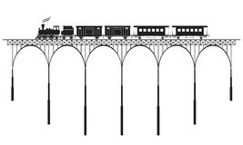 Openwork bridge and locomotive Stock Photo