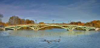 Openwork bridge in Tsaritsyno Park. Stock Photos