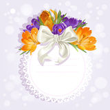 Openwork card with flowers crocuses Royalty Free Stock Images