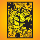 Openwork card with jack and spiderwebs. Laser cutting template for greeting cards, envelopes, party invitations, interior decorative elements Royalty Free Stock Images