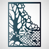 Openwork card with tree and hearts. Royalty Free Stock Image