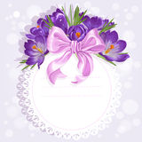 Openwork card with wreath of purple crocuses Royalty Free Stock Image